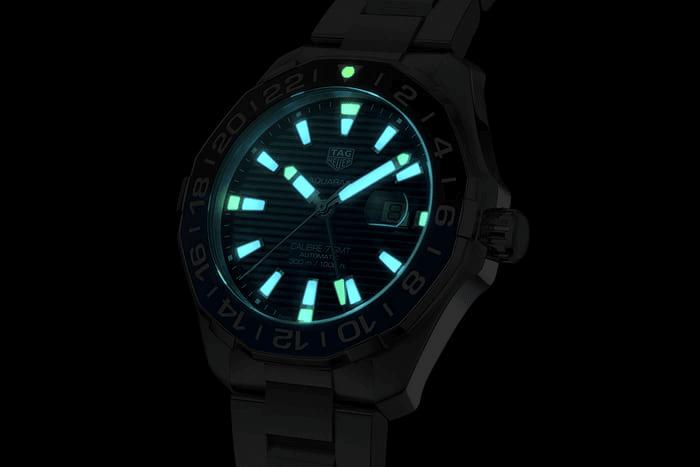 mặt số phát quang super-luminovar đồng hồ lặn tag heuer aquaracer gmt 2020