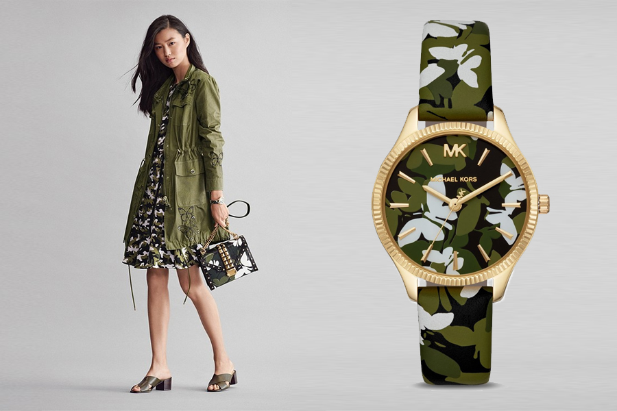 dong ho michael kors mini lexington butterfly camo