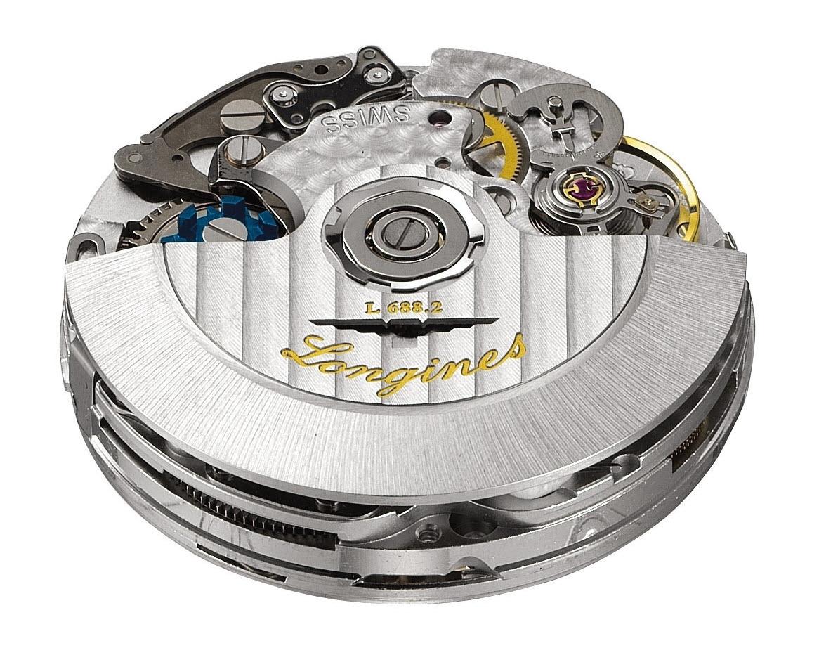 Bộ máy chronograph column-wheel 6 kim automatic, lịch ngày Longines L.688.2