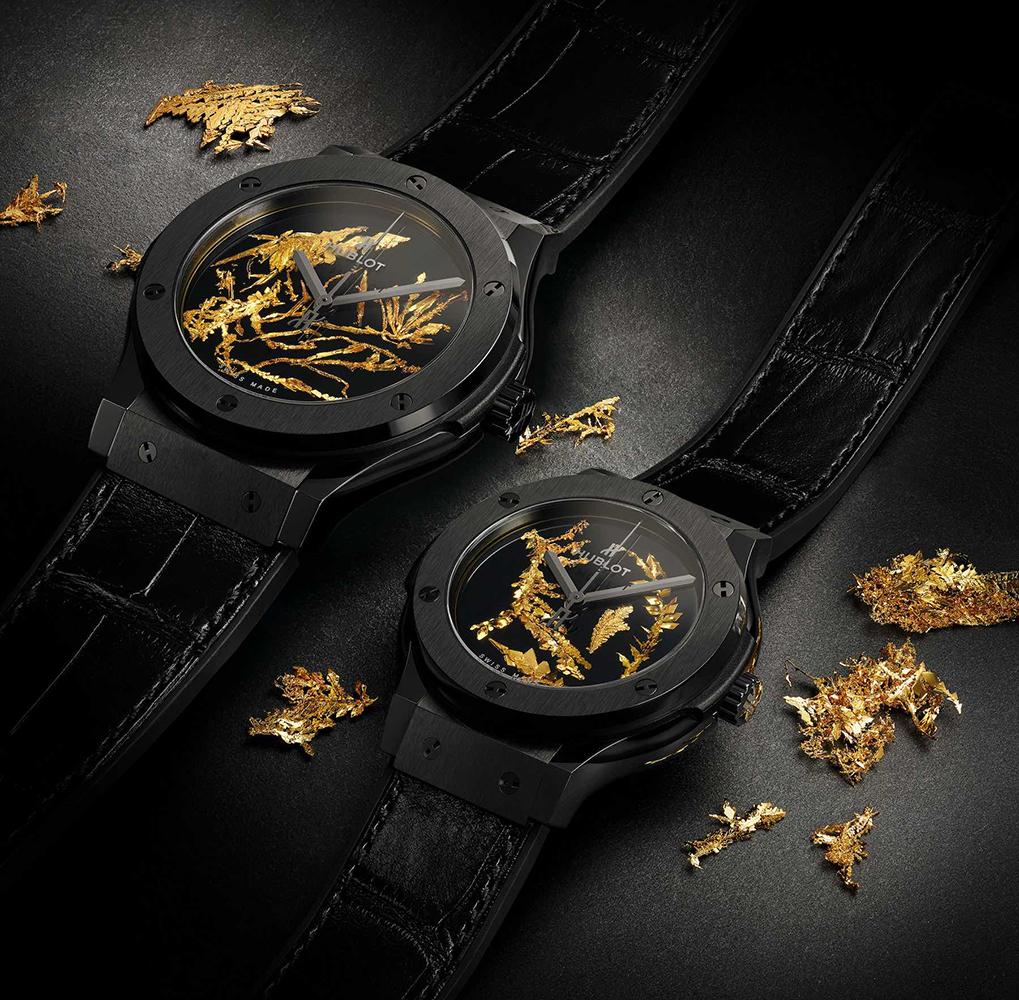 đồng hồ tinh thể vàng 24karat Hublot Classic Fussion Watches