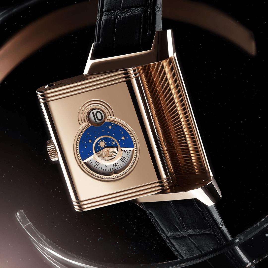 đồng hồ lật mặt jaeger lecoultre reverso tribute nonantieme vàng rose gold 18K