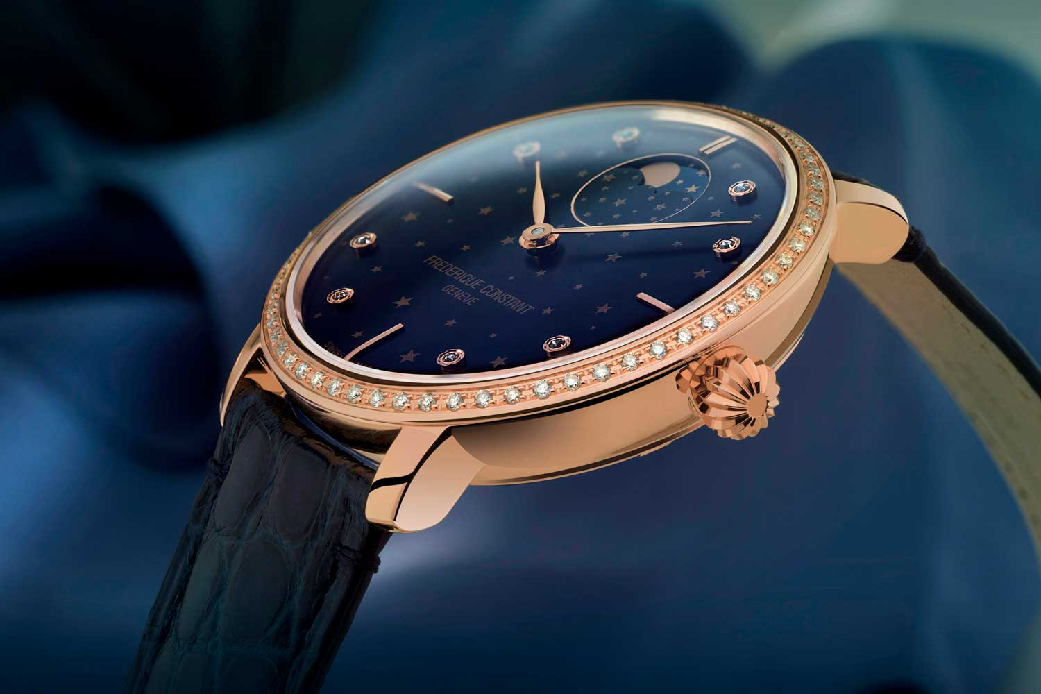 đồng hồ Slimline Moonphase Stars Manufacture màu xanh