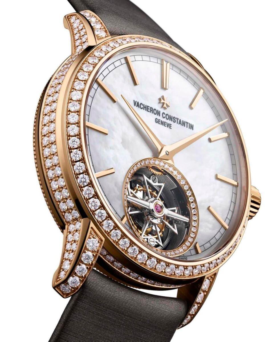 đồng hồ nữ sang trọng rose-gold vacheron constantin traditionnelle tourbillon 2020