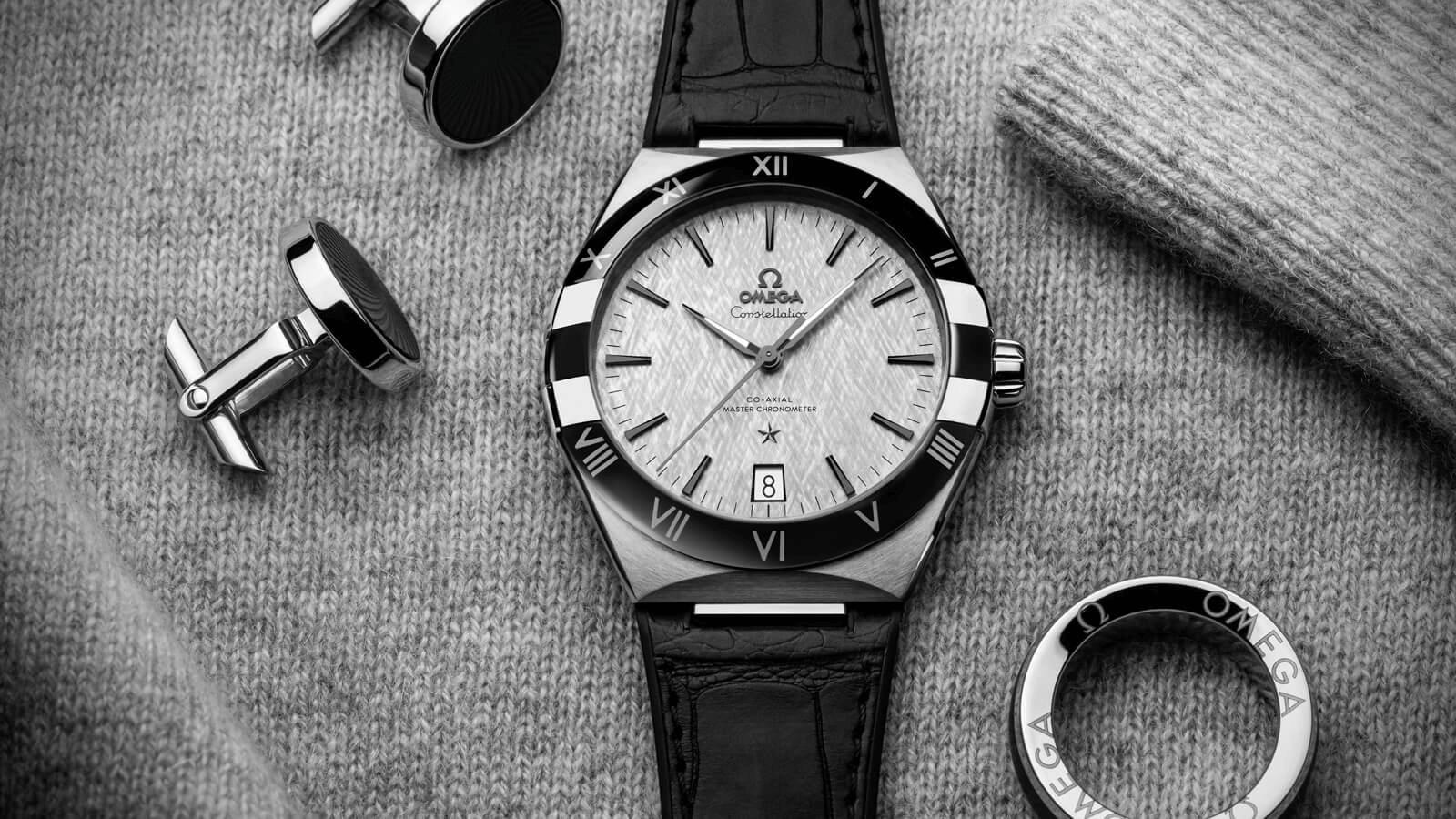 đồng hồ nam omega constellation viền gốm ceramic 41mm