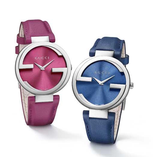 đồng hồ Gucci Interlocking dây xanh và hồng