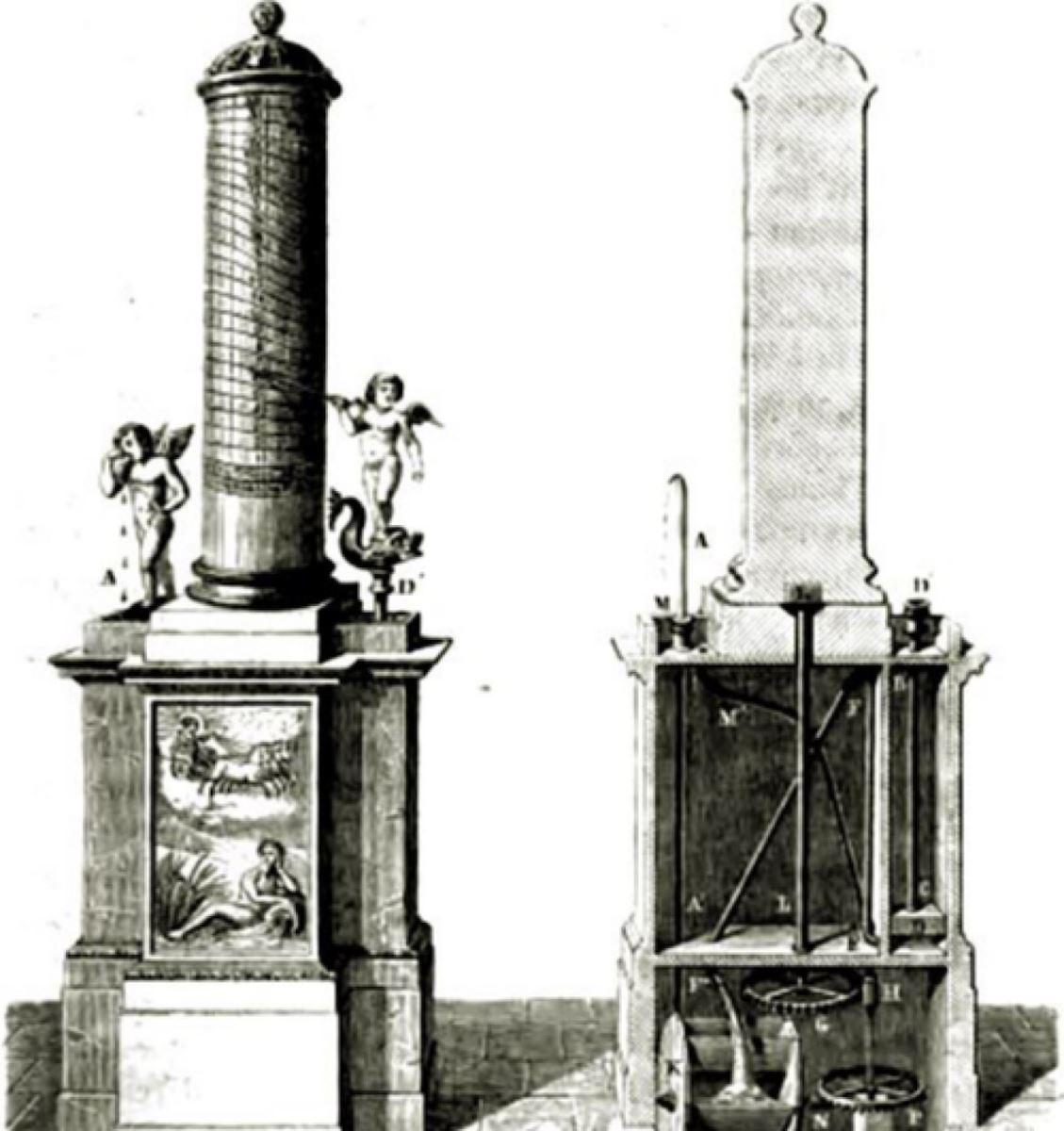 Hình minh họa đồng hồ nước của Ctesibius (285-220 TCN)