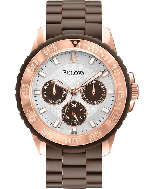 Bulova Classic Brown Rubber Watch 41mm