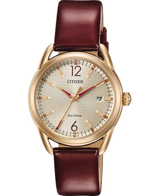 Citizen Drive Burgundy Leather Strap Women's Watch 34mm