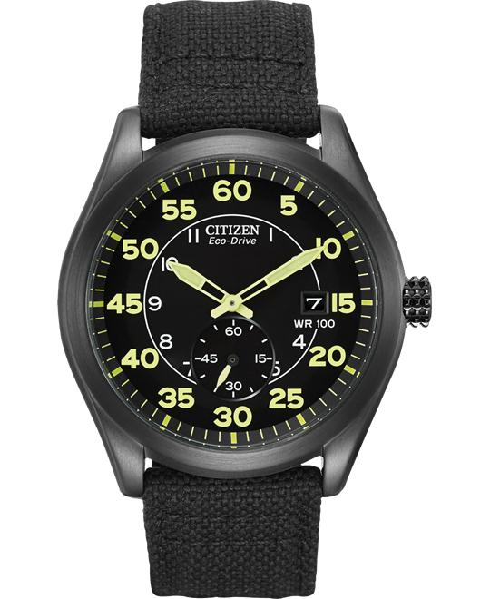Citizen Chandler Men's Eco-Drive Black Nylon Strap Watch 46mm