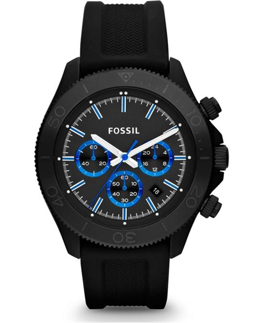 Fossil Men's Black Silicone Strap 44mm