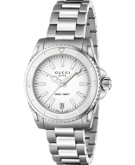 Gucci Dive Medium White Dial Watch 32mm