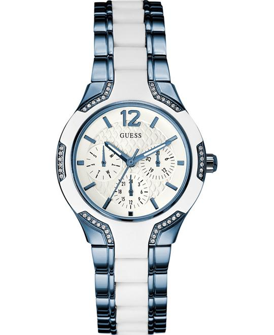 GUESS Blue and White Ion-Plated Bracelet Watch 36mm