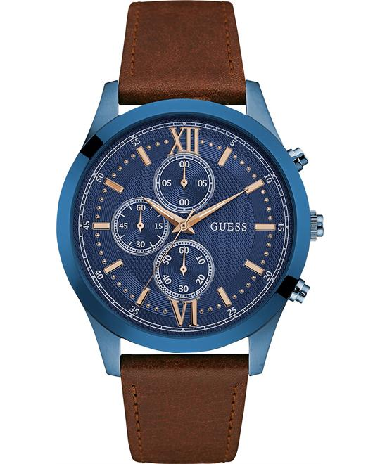 GUESS Chronograph Brown Leather Strap Men's Watch 43mm