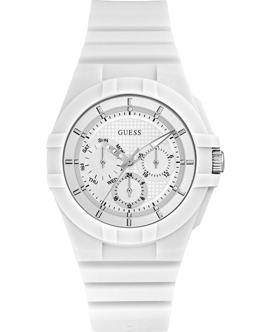 GUESS White Multifunction Silicone Watch 41mm