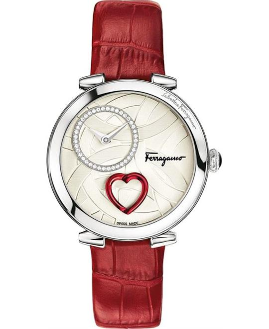 đồng hồ nữ màu đỏ Salvatore Ferragamo Cuore Women's Watch 39mm