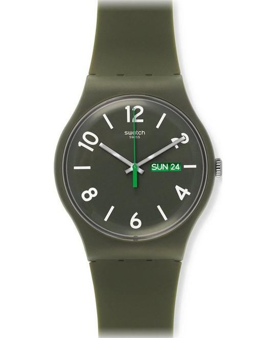 Swatch Backup Green Unisex Watch, 42mm