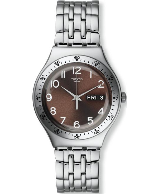 SwatchSir S Brown Silver Date Analog Unisex Watch, 37mm