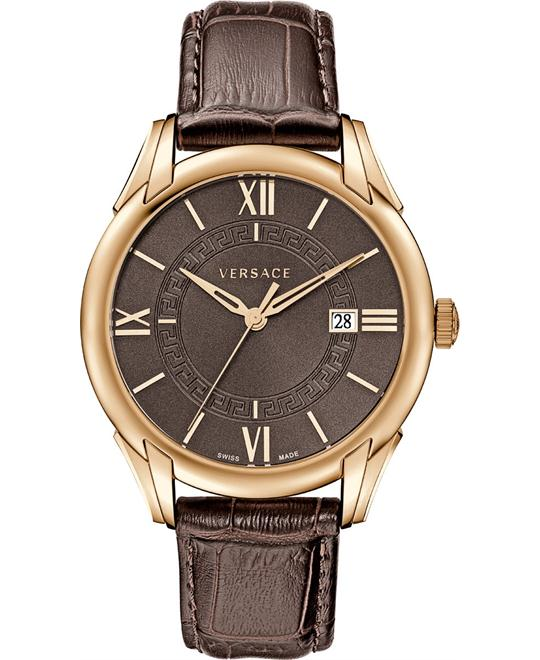 dong ho Versace Apollo Brown Dial Leather Watch 42mm