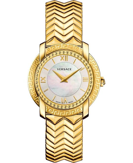 Versace DV-25 Round Lady IP Gold Watch 36mm