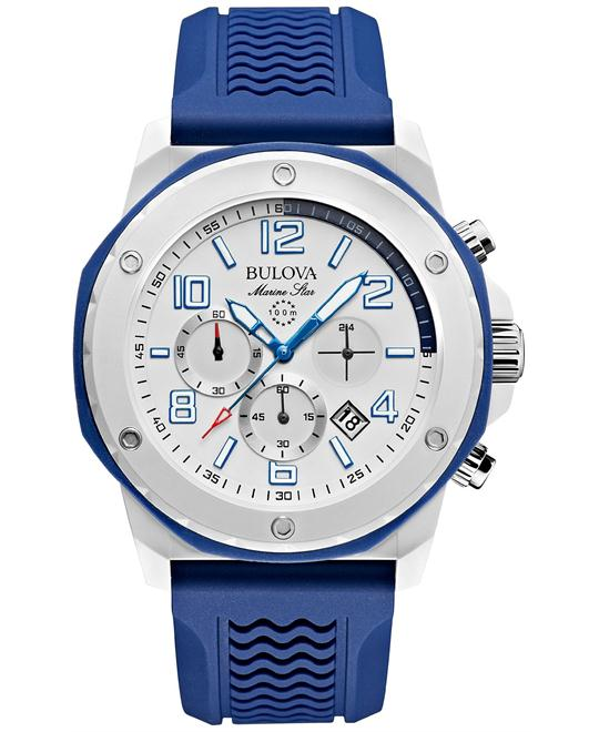 Bulova Marine Star Blue Silicone Watch 44mm