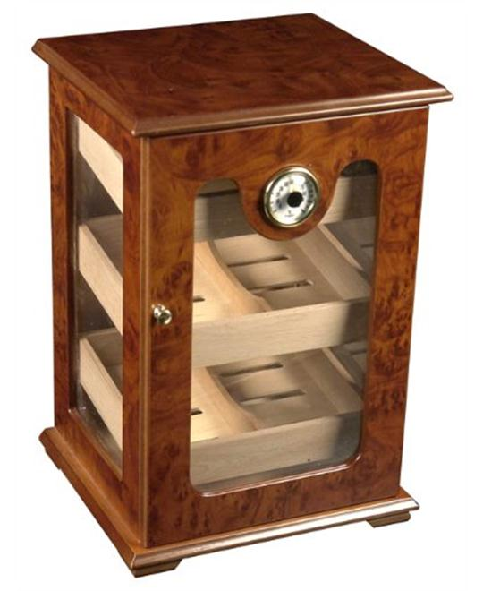 150 ct CIGAR HUMIDOR - BURL WOOD GREAT DISPLAY SHOW CASE