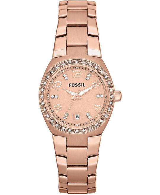 FOSSIL Ladies Rose Gold-Tone & Crystal Watch