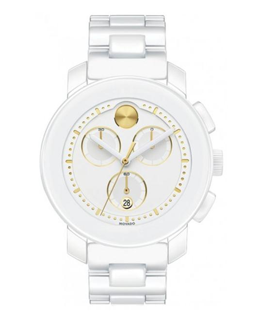 Movado Bold Chronograph White Ceramic Ladies Watch 38mm