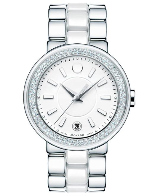 Movado Women's Swiss Diamond Ceramic Watch 36mm