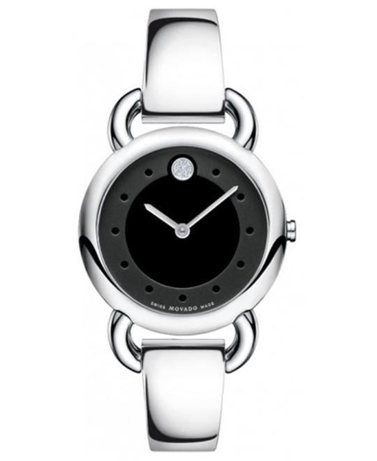 Movado Linio Diamond Black Bangle Ladies Watch 30mm