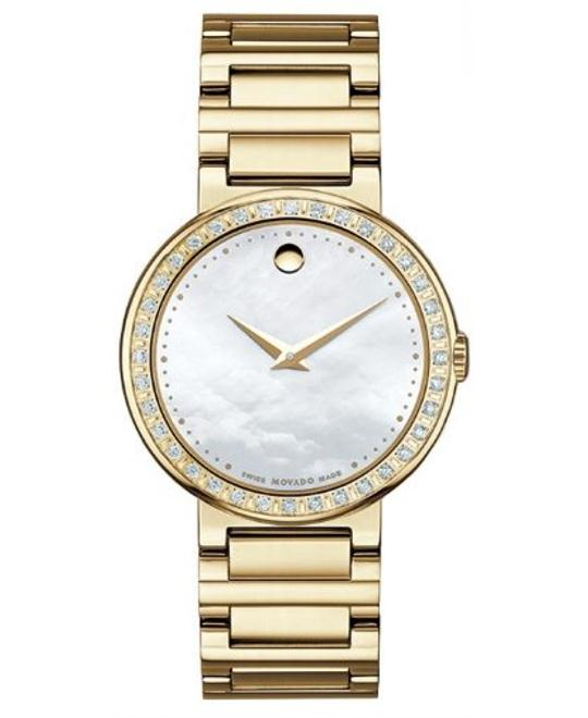 Movado Concerto White Mother-Of-Pearl Round Watch 30mm