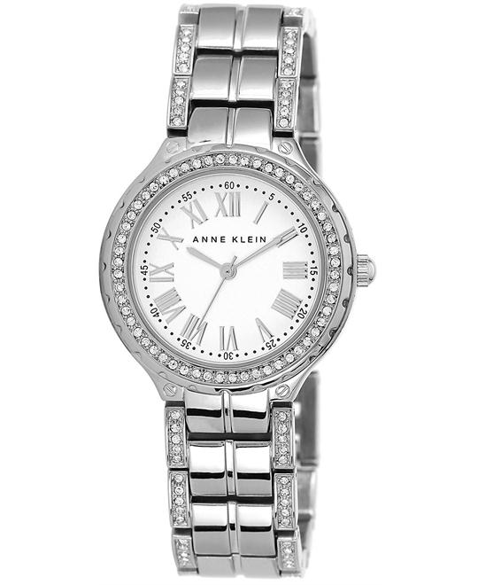 Anne Klein Women's Crystal-Accent Silver-Tone 32mm