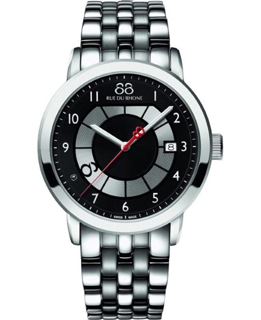 88 Rue du Rhone Men's Steel diamond silver Arabic black 45mm
