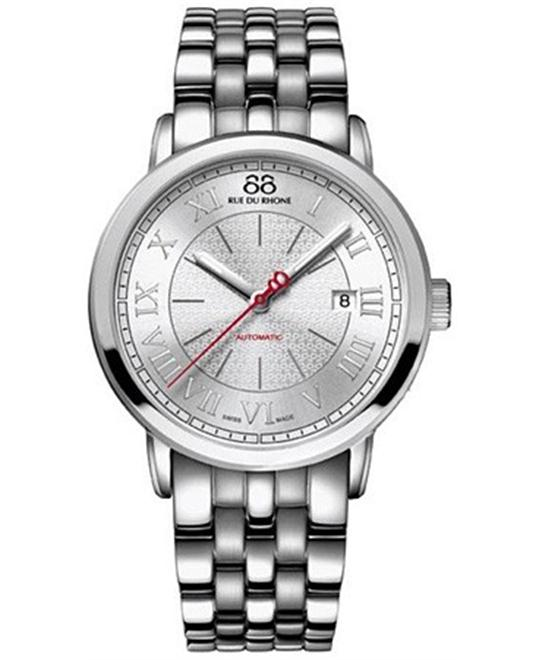 88 Rue du Rhone Men's Swiss Automatic Silver Watch 42mm