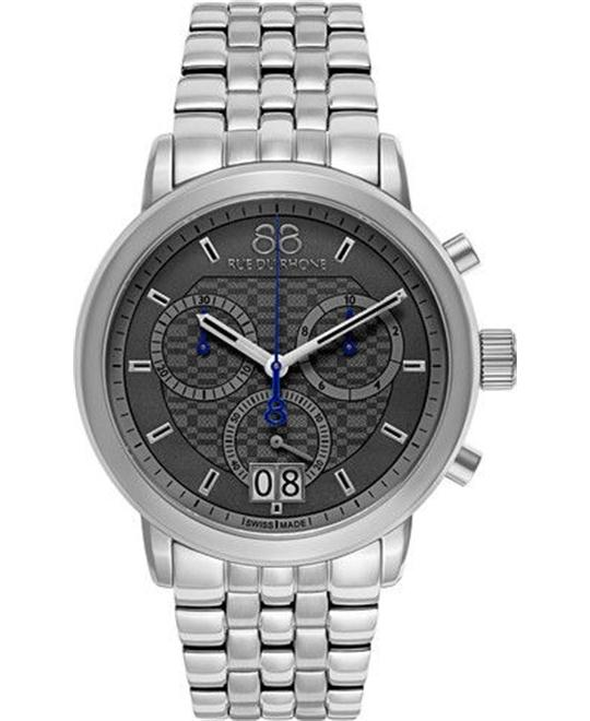 88 Rue du Rhone Men's Swiss Quartz Silver Watch 45mm