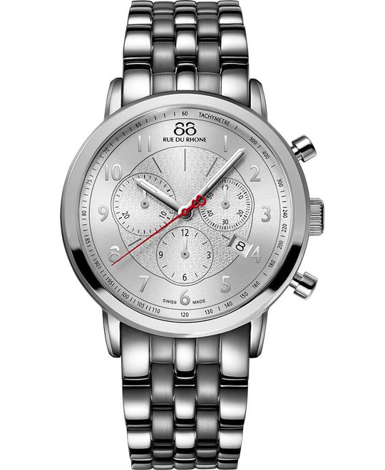 88 Rue du Rhone Swiss silver Arabic Watch 42mm