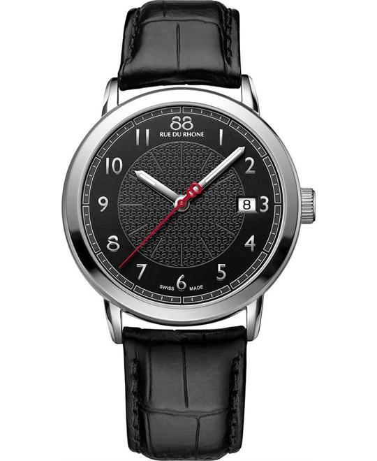 88 Rue du Rhone Mens Swiss Origin Black Leather 39mm