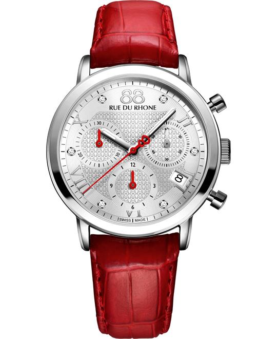 88 Rue du Rhone Red Leather Silver Dial Ladies Watch 35mm