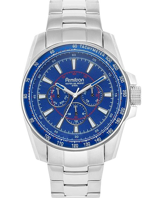 Amitron Men's Blue Dial Silver Watch, 46mm