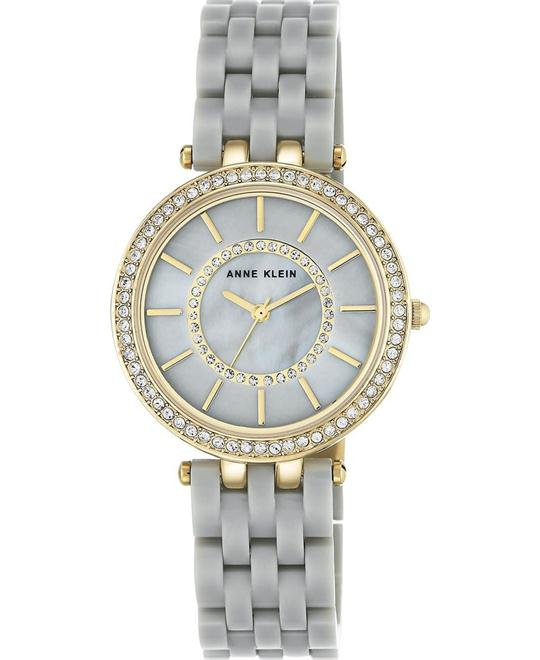 Anne Klein Crystal Accent Gray Resin Bracelet Watch 34mm