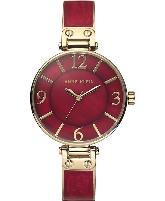 Anne Klein Gold-Tone and Burgundy Enamel Watch 34mm