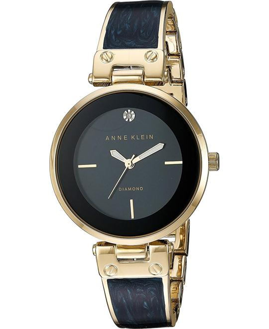 Anne Klein Goldtone and Navy Marble Watch 34mm