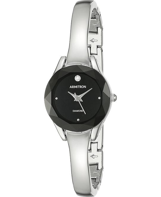 Armitron Diamond-Accented Dial Silver-Tone Watch 22mm