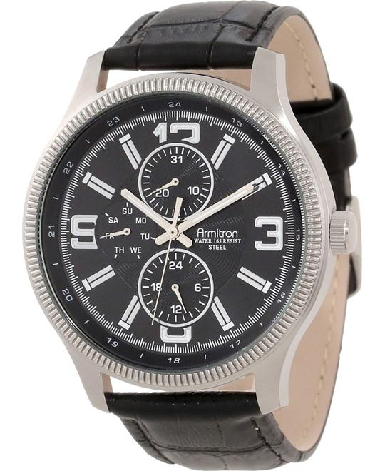 Armitron Men's Silver-Tone Leather Watch 44.5mm
