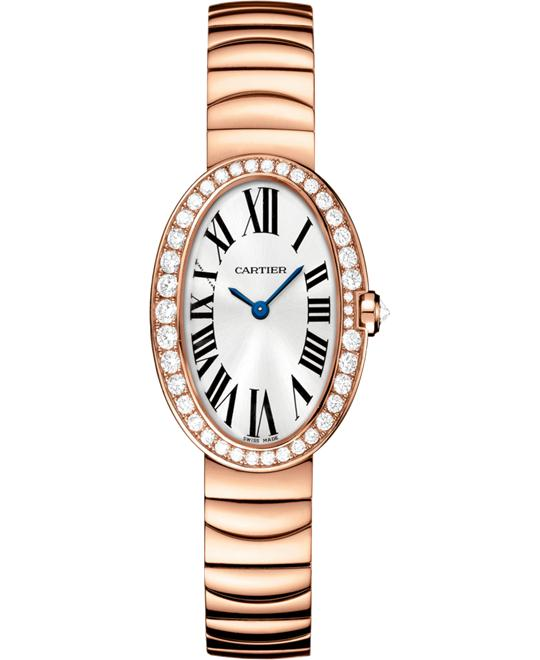 Cartier Baignoire WB520002 18K Pink Gold Diamonds Watch 25.3
