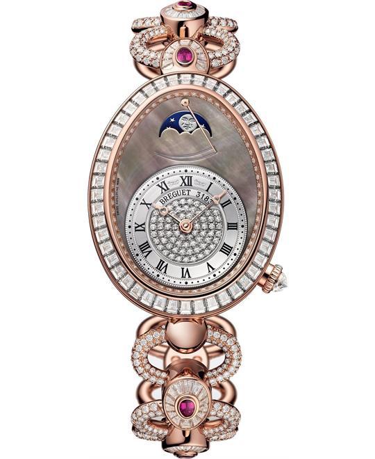 đồng hồ nữ oval đính kim cương Breguet Reine de Naples 8909br/8t/j29.dddr 30.45x38.5mm