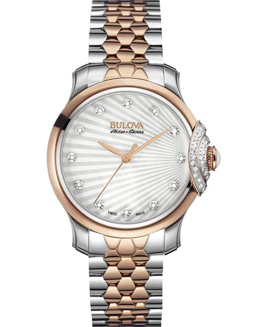 Bulova AccuSwiss Bellecombe Diamond Watch 34mm