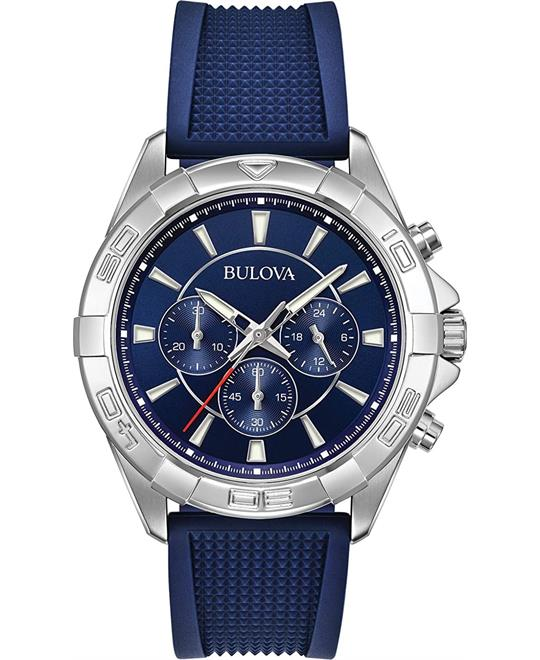 Bulova Chronograph Blue Dial Watch 43mm
