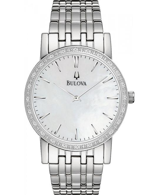 BULOVA Classy Diamond Bezel Stainless Steel Watch 38mm