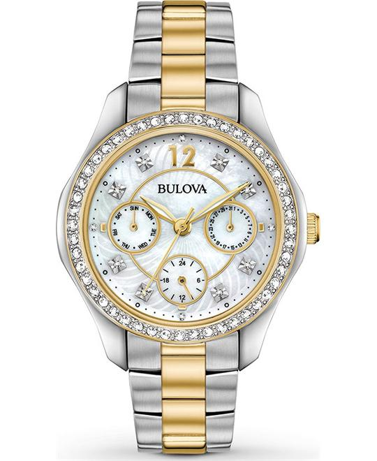 Bulova Crystal Mother of Pearl Ladies Watch 36mm