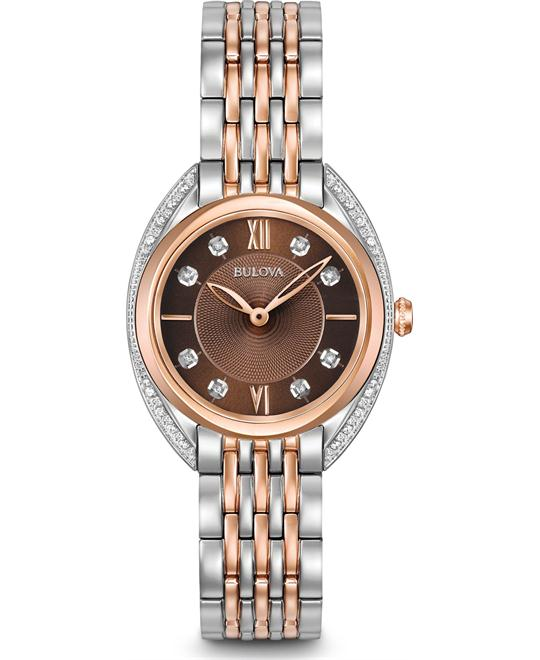 đồng hồ Bulova Diamond Curved Ladies Watch 30mm